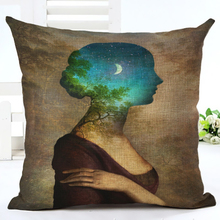 New Arrive Hot Selling Classical Illustration Printing Linen Cotton Cushion Cover Throw Pillow Sofa Pillow Cojines