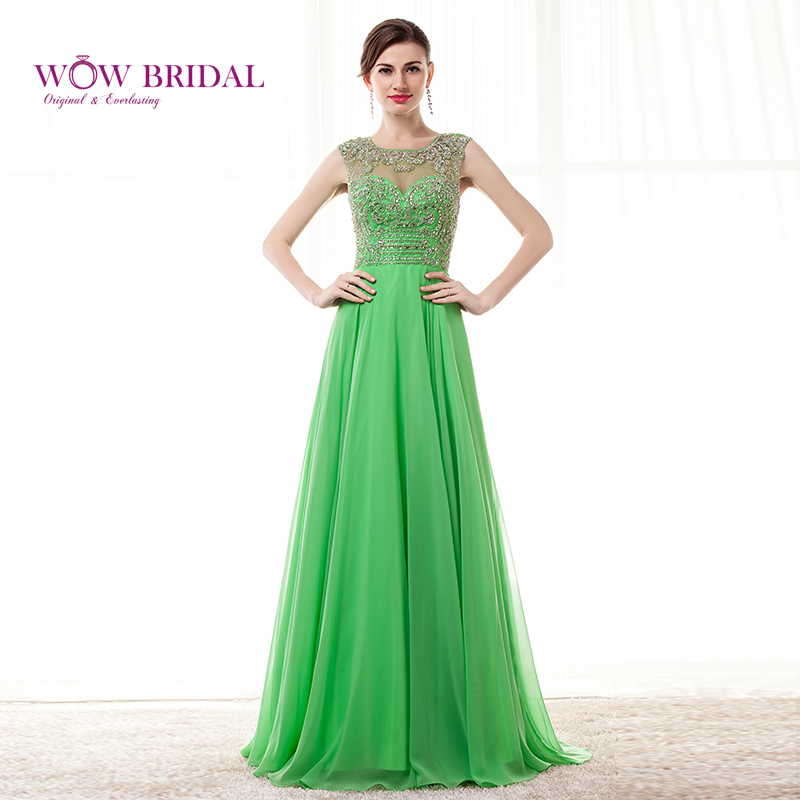Wowbridal Gorgeous Green Prom Dress 2015 Tulle Sheer Sweetheart Pattern Sequins Beaded Chiffon A-Line Ruffles Sweep Train Dress
