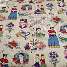 140cm Width 50s Vintage Frida High Quality Cotton Fabric for Woman Dress Clothes Sewing Patchwork DIY-AF089(China)