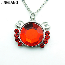 JINGLANG Promotion! New Design Fashion Metal Silver Plated Link Chain Red Rhinestone Crab Pendant Necklace For Women Jewelry(China)