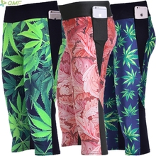 Tobacco Leaves Digital Print Fashion Women Fitness Capris Pants Red Maple Leaf Slim Breathable Pocket Cropped Trousers S-4XL New(China)