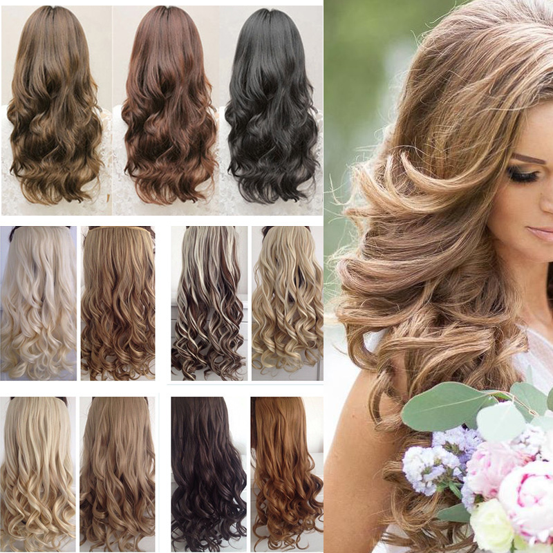 43cm-74cm Long Curly Half Full Head Hair Extensions 17-29 Mega Long Wavy 5clips Clip in Hair Extension One Piece Hairpiece<br><br>Aliexpress