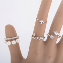 Fine Jewelry 4Pcs Simple Design Vogue Silver Gold Simulated Pearl Love Leaf Bird Band Midi Finger Knuckle Ring Set For Women
