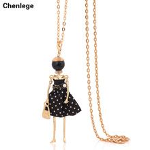 hot sale necklace for women fashion collar french paris girl big doll pendant vintage long chain dress necklace choker jewelry(China)