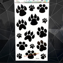 Dog Pet Bear Paws Temporary Tattoo Stickers Black Footprint Designs Fake Waterproof Tattoo Paste Women Body Arm Art Flash Tatoos