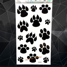 Dog Pet Bear Paws Temporary Tattoo Stickers Black Footprint Designs Fake Waterproof Tattoo Paste Women Body Arm Art Flash Tatoos(China)