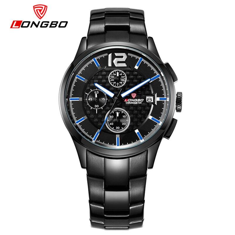 2016 LONGBO Waterproof Multifunction Men Watch Genius Leather Small Dial Work Watches Men Luxury Stainless Steel Band Wristwatch<br>