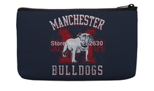 Vintage Navy and Red Bulldog Pattern Print Custom Small Cosmetic Bag Wristlet hand bag