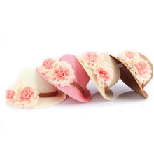 1PCS Hawaii Style Summer Lovely Children's Baby Girl Kids Flowers Sun Hat Straw Hat Beach Cap for 2-7 Year Toddler Infant Hot