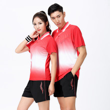 Adsmoney Turn-down collar Couples mounted Men and women's Tennis Shirts shorts kit sports Badminton Table Tennis clothing