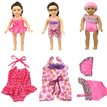 "2017 New Arrival Handmade Doll Swimsuit American Girl 18"" Mini Flower Swimsuit Bathing Water Skirt Outfit Toy Accessories(China)"