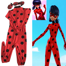Miraculous Ladybug Cosplay Costume New Kids/ Child/ Girls Movie Fantasia Party Festa Halloween Costume For Women Kids(China)