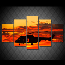 HD Printed 5 piece canvas art paintings helicopter sunset sundown room decor canvas wall art posters and prints(China)