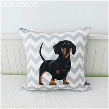 DUNXDECO Cushion Cover Decorative Pillow Case Modern Nordic Grey Wave Cute Dachshund Adorable Pet Dog Print Short Brush Coussin