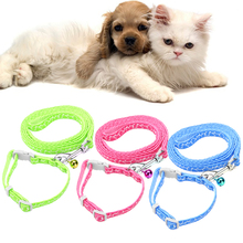 Pet Dog Traction Rope Pet Collar With Bell Walking Lead Leash Chain Pet Harness Dog Collar for Small Dog Blue Rose Red Green