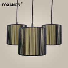 Foxanon LED pendant Light E14 lampshade lamps Modern lustre Wire drawing cloth Design lamparas colgantes for home decor Art