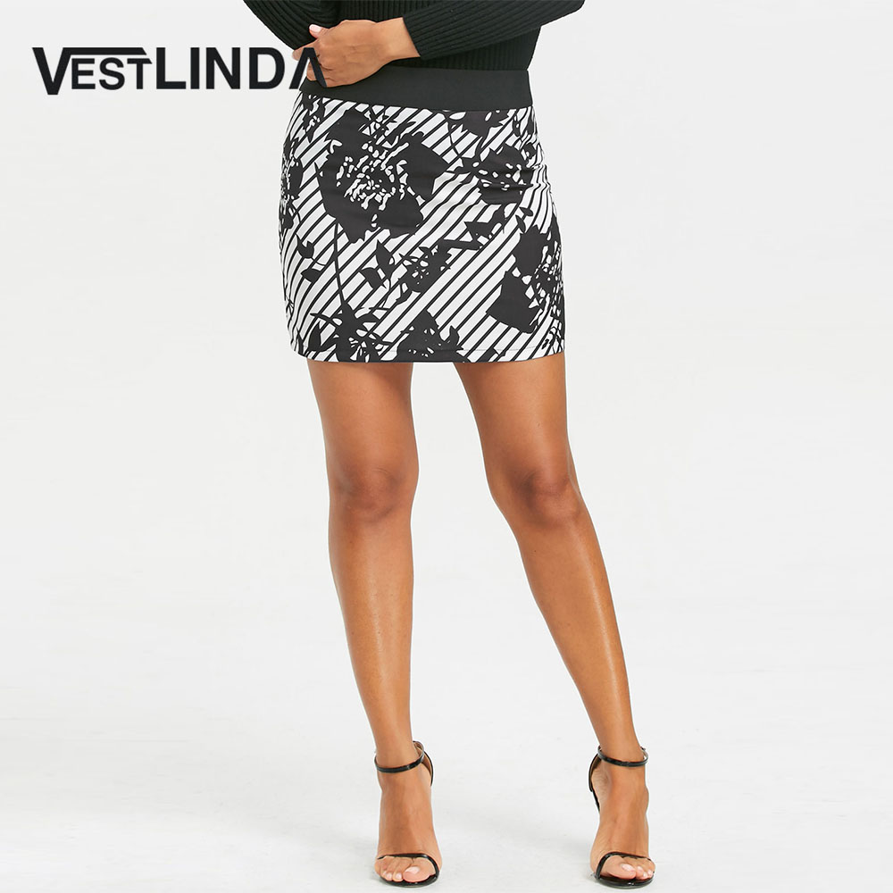 VESTLINDA Floral Stripe Mini Pencil Skirt Women New Fashion Sexy Bobycon Skirts Ladies Girls Clothes Mini Skirt 4 Season