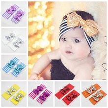 Women/ Head wrap Blended cotton fabric Headwrap Elastic stripe Sequins bowknot head band Turban Twist BOW Hairband FD6564(China)