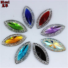 Micui 50pcs/bag 11*24mm Dual color Horse eye Resin Rhinestone Crystal Flat Back stones for Wedding Decoration ZZ471