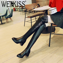 WETKISS Plus Size 33-46 Pu Women 넘 다 니 Boots Round Toe 신발쏙 ~ 레이스 (High) 저 (힐 암 Boot zip Shoes Woman 2018 Winter(China)