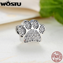Hot Selling Real 925 Sterling Silver Paw Prints Charm Fit Original Bracelet Bangle Authentic Jewelry Gift(China)