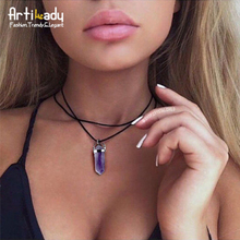 Artilady pu leather natural crystal stone opal choker necklace fashion boho choker for women jewelry party gift