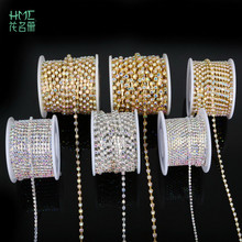 10yard/roll White AB Crystal Rhinestone Chain SS6-SS18 Plating Gold/Silver for DIY Jewelry Craft Apparel Sew On Accessoires