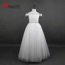 2017 Real Photo Amazing Boat Neck Beads Flower Girl Dresses Heavy Beads Lace Up Back Long Cheap Discount LIYATT(China)