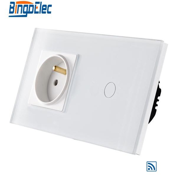 EU standard 1gang 1way remote wall switch and French wall socket<br>