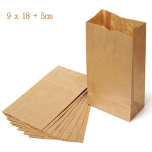 5 pcs Eco-friendly 9x18cm Recyclable Small Kraft Shopping Bags / Fast Food Paper Pouches / DIY Paper Bag for Gift