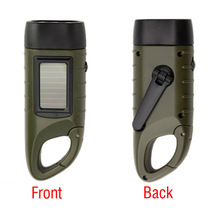 Hand Crank Dynamo Solar Powered Rechargeable LED Camping Emergency Flashlight Torch for Night Cycling Camping Self-defense