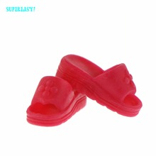 Fashion Red Flat Shoes Daily Casual Wear Summer Sandal House Slippers Accessories For Barbie FR Kurhn Doll Dollhouse Gift Toy