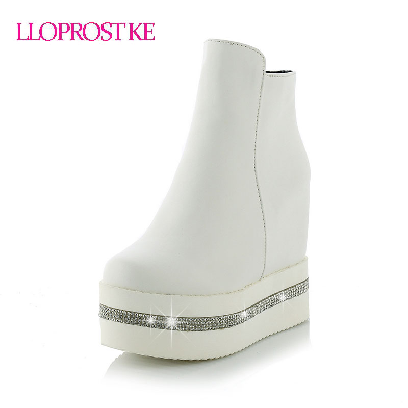 LLOPROST KE Zapatos Mujer Height Increasing 12cm Womens Casual Shoes High Top Wedges Platform Shoes Women Ankle Boots GL052<br>