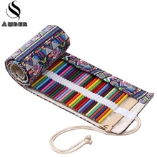 National School Pencil Case Canvas 36/48/72 Holes Roll Up Pencil Bag Portable Pen Box Pencilcase for Girls School Stationery