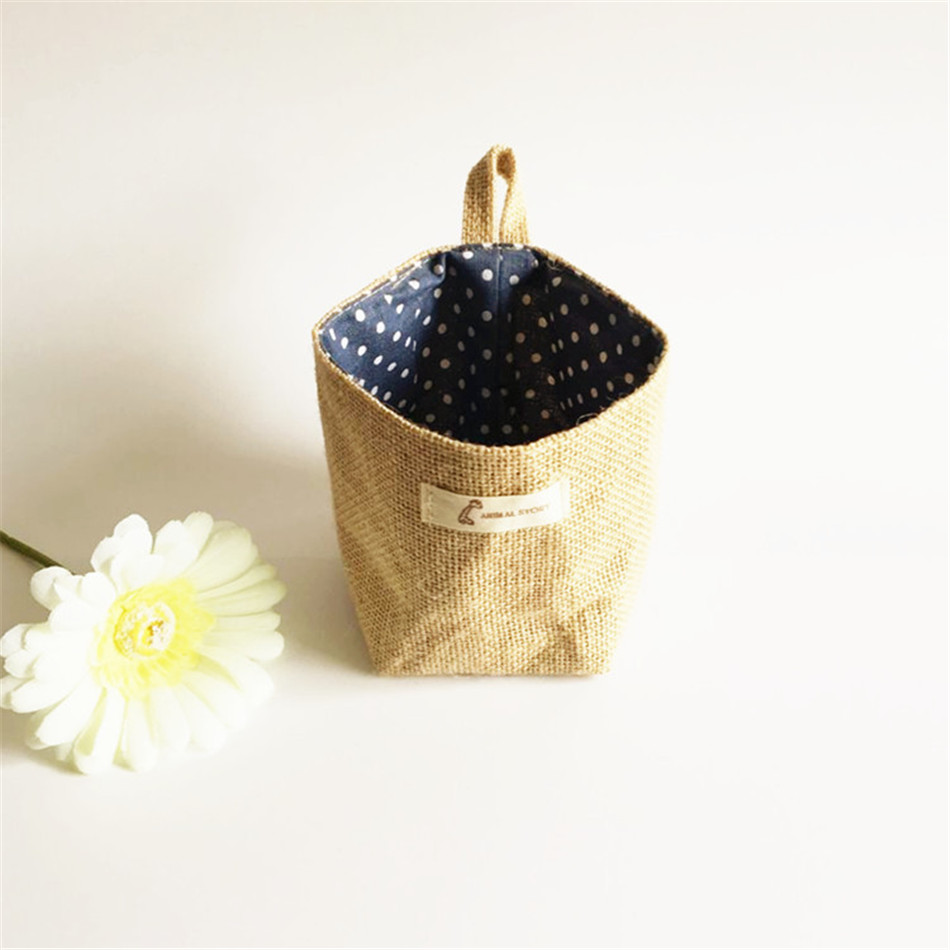 Linen Woven Storage Basket Polka Dot Small Storage Sack Cloth Hanging Non Woven Storage Basket Buckets Bags Kids Toy Box (9)