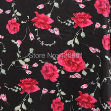 meter rose print polyester satin fabric only abit elastic stretch material chinese ethnic cheongsam dress mateiral