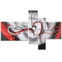 Abstract Black and Red Hand Painted Modular Oil Canvas Paintings Drawing by Numbers Modern Wall Art Home Decor Pictures Image