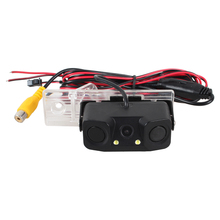 2 in 1 Car Parking System Radar Sensor HD CCD Auto Rearview Camera with LED Light Buzzer