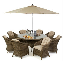 2017 Trade Assurance rattan 8 seat round dining set outdoor garden furniture(China)