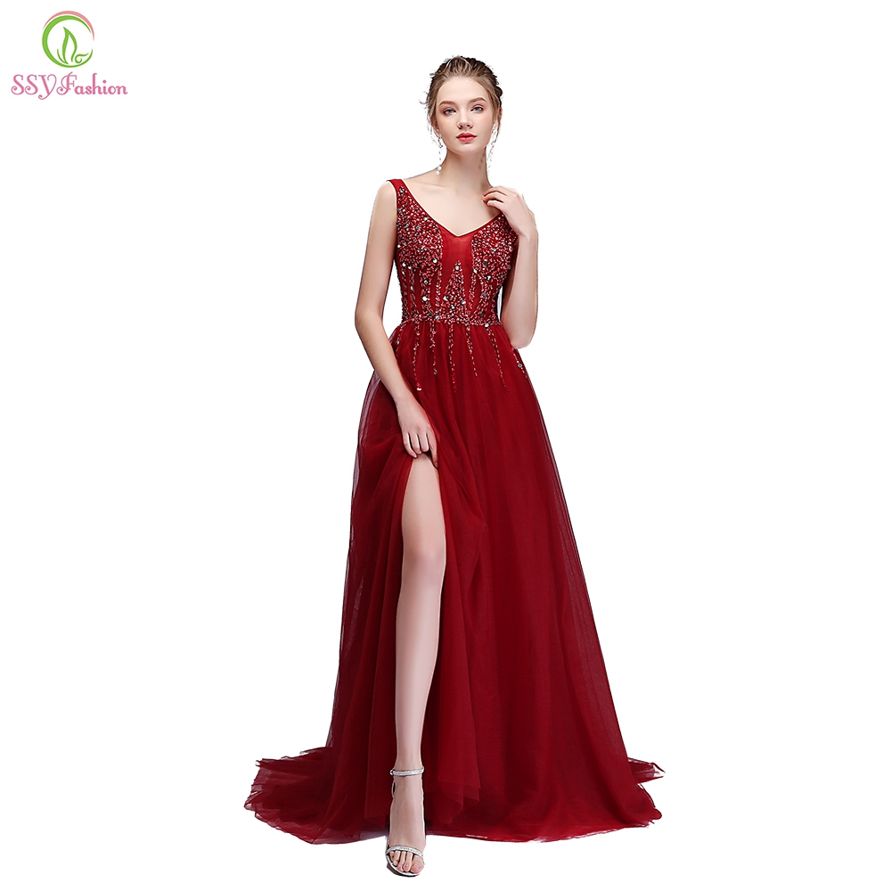 SSYFashion Luxury Evening Dress Handmade Sequined Beading V-neck Sweep Train High-split Prom Party Gown Custom Formal Dresses