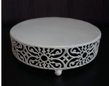 European Style Round Wedding Cupcake Holder Stand Wrought iron Snack Cake Plate Tray White Flower Stand