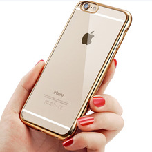 Luxury Glitter Bumper Silicone Case For iPhone 5 5S SE 6S / 6 Plus 6S 7 Plus Transparent Cover Rose Gold Coque Fundas Cases