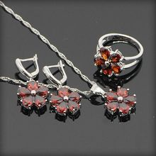 925 Sterling Silver Red Garnet Jewelry Sets For Women Sliver Necklace Pendant Earrings Rings Size 6/7/8/9 Free Gift Box
