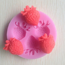 Cake Tool Round Shaped Cake Moulds Strawberry Silicone Mold Soap Fondant Candle Molds Sugar Craft Tools Special Price(China)
