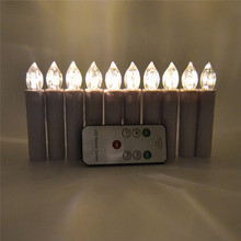 Led Flikering Candles for Christmas Tree Decoration 10 Pcs/lot Warm White Flameless Pillar Candle for Xmas Tree Decor Remote