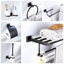 Bathroom Accessories Hardware Set Towel Shelf Soap Holder Toilet Brush Holder Toilet Paper Holder Oil Rubble Bronze Finished(China)