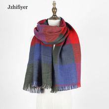 jzhifiyer YX005 reversible capes designer houndstooth plaid scarf winter ladies long echarpe shawls new 4 colors feminino scar(China)