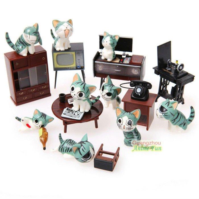 15pcs/set Chi Cat Toys Sweet Cheese cat Doll  Figure Set Cat Furnishing 15pcs/set 3cm Height<br><br>Aliexpress