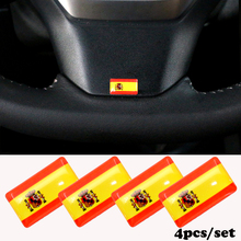 4PCS Car-styling Steering wheel 3D Epoxy Car Styling Spain for seat ford focus  Shield Flag Sticker National Emblem