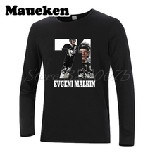 Men Long Sleeve Pittsburgh Evgeni Malkin 71 Russia hockeying Star Penguins T-Shirt Clothes T Shirt Men's Autumn Winter W17110803(China)